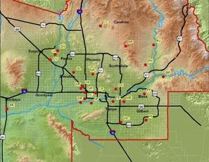 A map image of the air quality monitoring site locations around Maricopa County
